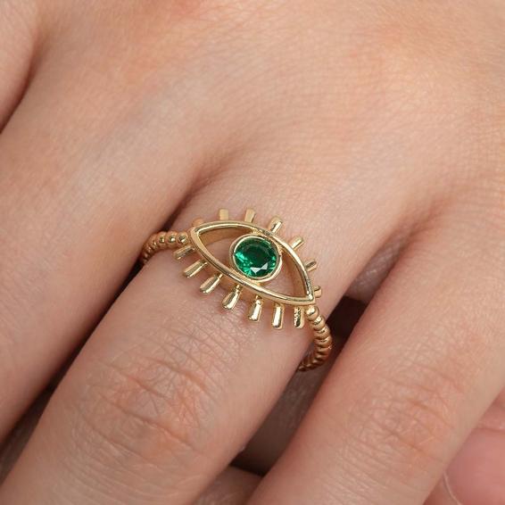 Mücevher Dünyası - 14 Ayar Yeşil Taşlı Kirpik Göz Altın Yüzük - 15