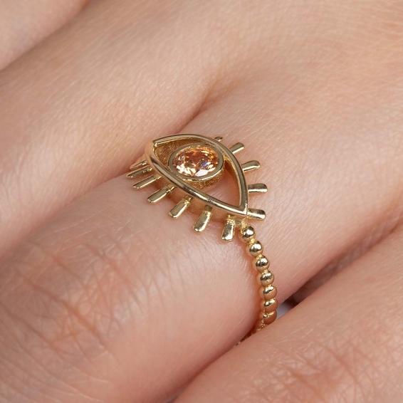 Mücevher Dünyası - 14 Ayar Sarı Taşlı Kirpik Göz Altın Yüzük - 13