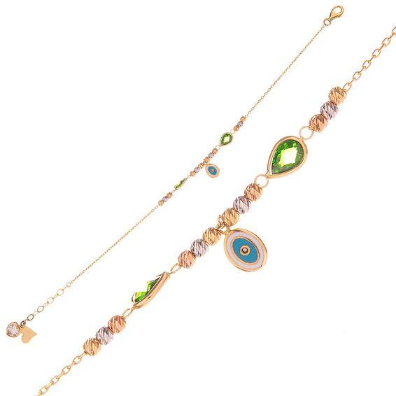 Mücevher Dünyası - 14 Ayar Yeşil Taşlı Nazar Boncuklu Dorika Altın Bileklik