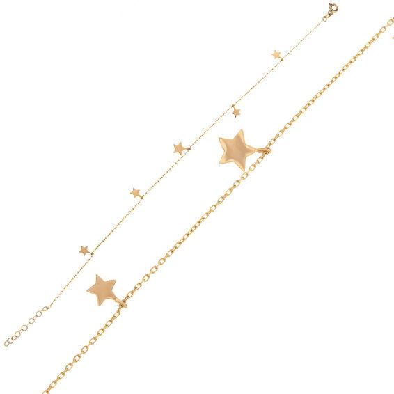 Mücevher Dünyası - 14 Ayar Yıldızlı Altın Halhal