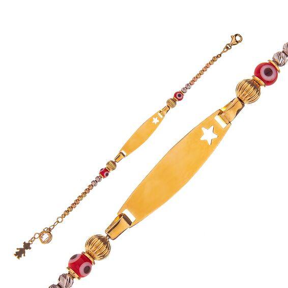 Mücevher Dünyası - 14 Ayar Taşlı Nazar Boncuklu Yıldızlı Dorika Altın Çocuk Künye