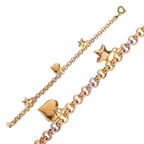 Mücevher Dünyası - 14 Ayar Yıldızlı Kalpli Altın Bileklik
