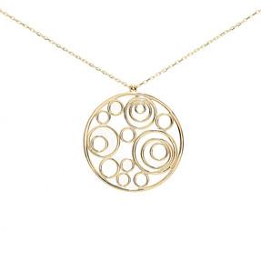 Mücevher Dünyası - 14 Ayar Yuvarlak Desenli Altın Kolye | Mücevher Dünyası