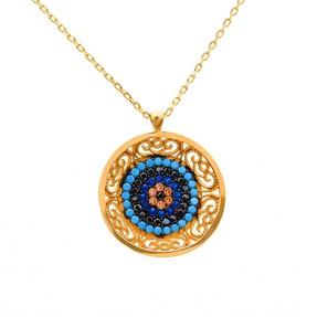 Mücevher Dünyası - 14 Ayar Yuvarlak Desenli Taşlı Boncuklu Renkli Altın Koyle | Mücevher Dünyası