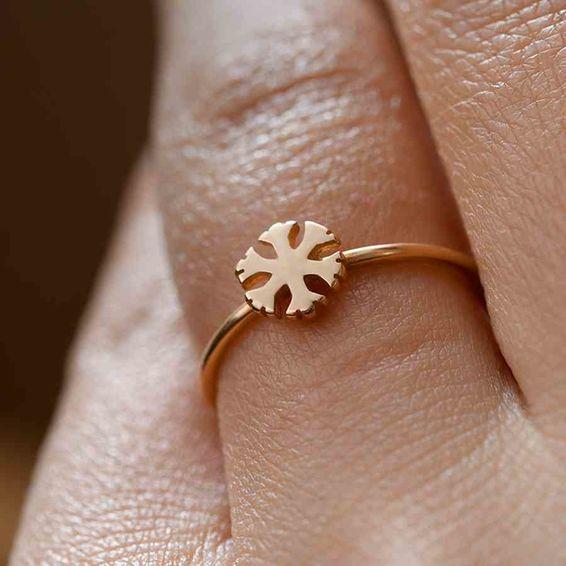Mücevher Dünyası - 14 Ayar Yuvarlak Kristal Altın Yüzük | Mücevher Dünyası