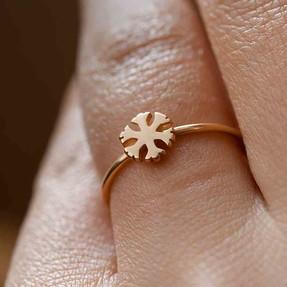- 14 Ayar Yuvarlak Kristal Altın Yüzük | Mücevher Dünyası
