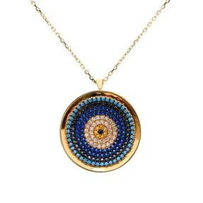 Mücevher Dünyası - 14 Ayar Yuvarlak Parlak Çerçeveli Renkli Boncuk ve Taşlı Altın Kolye | Mücevher Dünyası