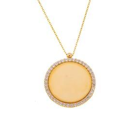 Mücevher Dünyası - 14 Ayar Yuvarlak Taşlı Çerçeve Düz Plaka Altın Kolye