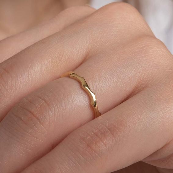 Mücevher Dünyası - 14 Ayar Zigzag Altın Yüzük - 15