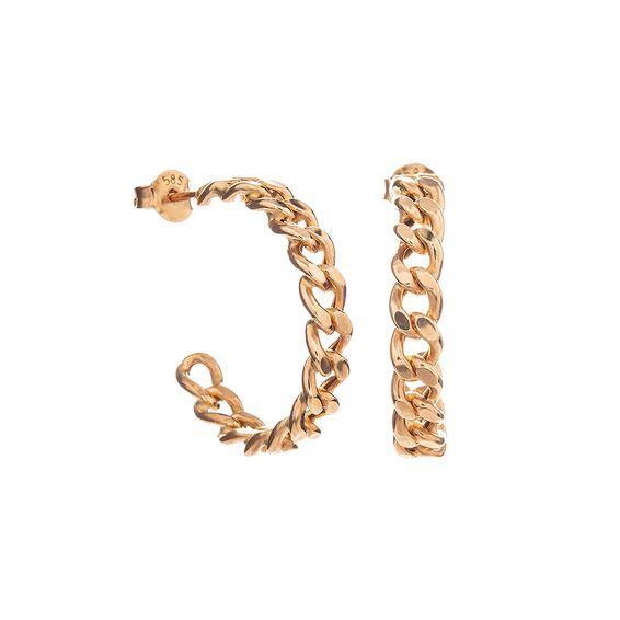Mücevher Dünyası - 14 Ayar Zincir Altın Küpe