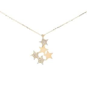- 14 Ayar Zirkon Taşlı Beş Yıldız Altın Kolye | Mücevher Dünyası
