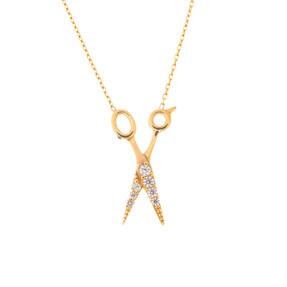 Mücevher Dünyası - 14 Ayar Zirkon Taşlı Makas Altın Kolye