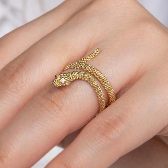 Mücevher Dünyası - 14 Ayar Zirkon Taşlı Yılan Altın Yüzük - 15