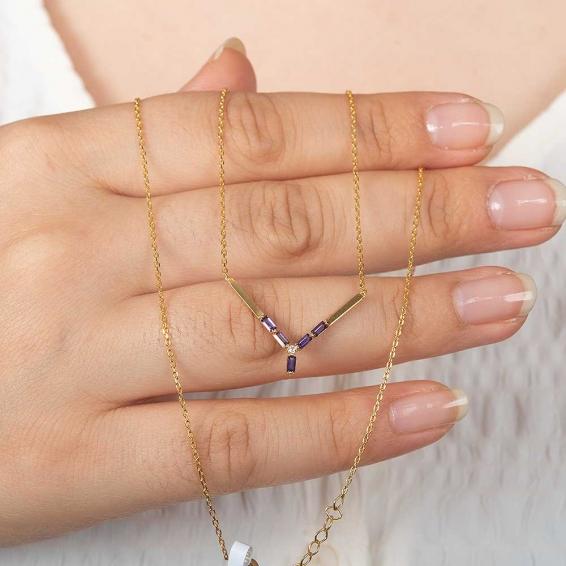 Mücevher Dünyası - 22 Ayar Akik Taşlı Altın Kolye - 2,7 Gr. - 48 Cm.