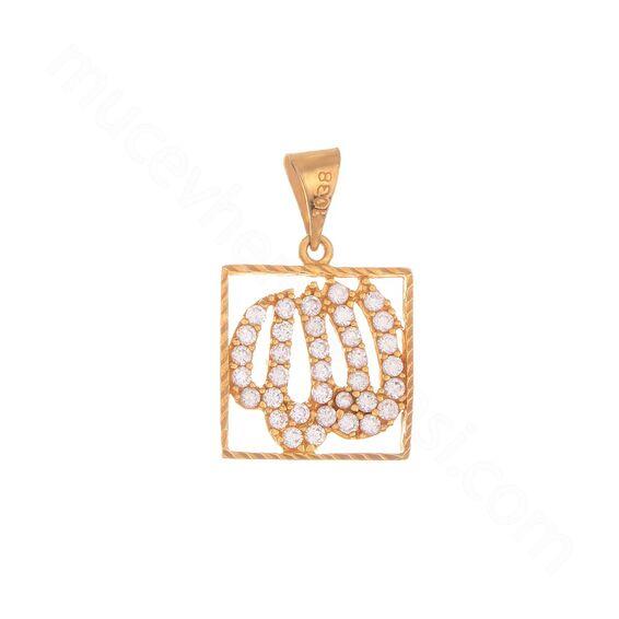 Mücevher Dünyası - 22 Ayar Allah Yazılı Taşlı Altın Kolye Ucu - 2,16 Gr.