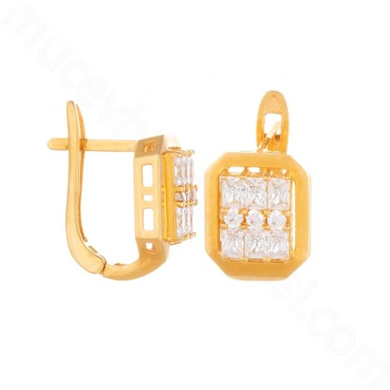 Mücevher Dünyası - 22 Ayar Altın Baget Taşlı Küpe - 6,00 Gr.