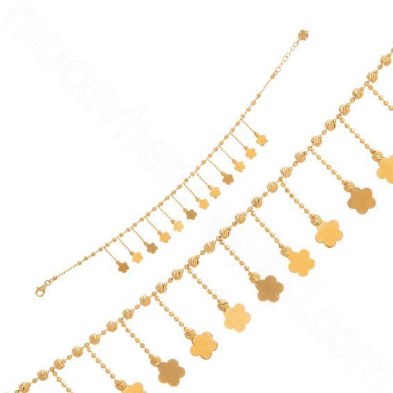 Mücevher Dünyası - 22 Ayar Altın Dorika Sallantılı Çiçekli Bileklik - 6,97 Gr.