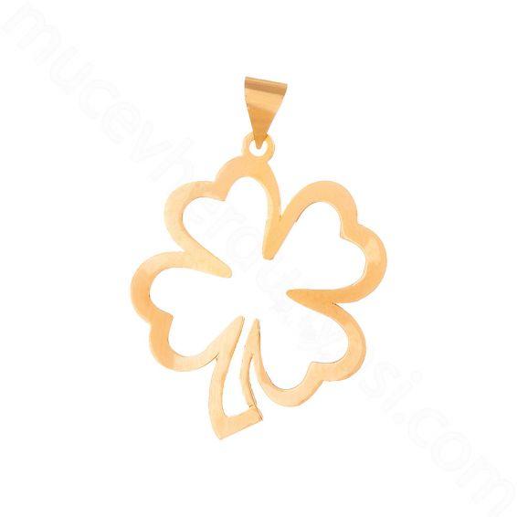 Mücevher Dünyası - 22 Ayar Altın Dört Yapraklı Yonca Kolye Ucu - 2,06 Gr.