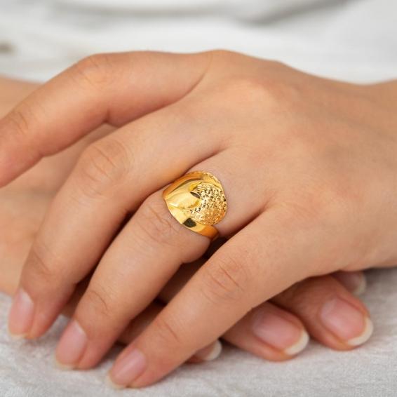 Mücevher Dünyası - 22 Ayar Altın Fantezi Yüzük - 2,58 Gr. - 16