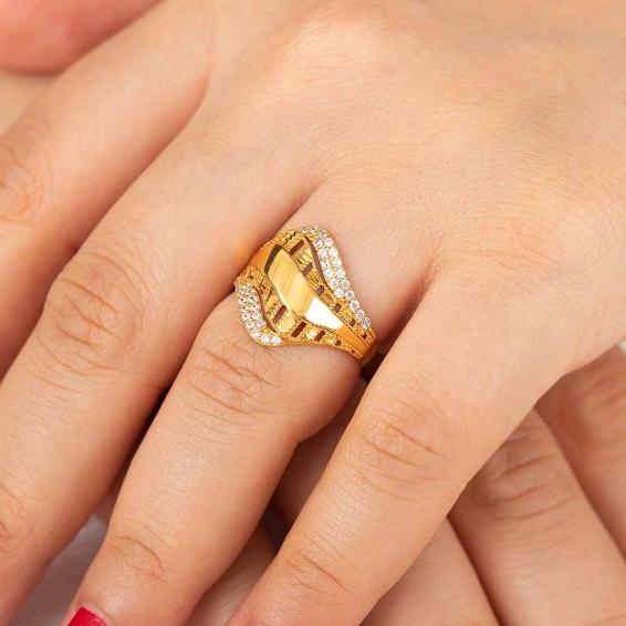 Mücevher Dünyası - 22 Ayar Altın Fantezi Yüzük - 3,06 Gr. - 17