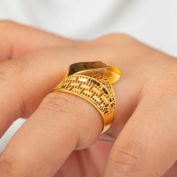 Mücevher Dünyası - 22 Ayar Altın Fantezi Yüzük - 3,63 Gr. - 17