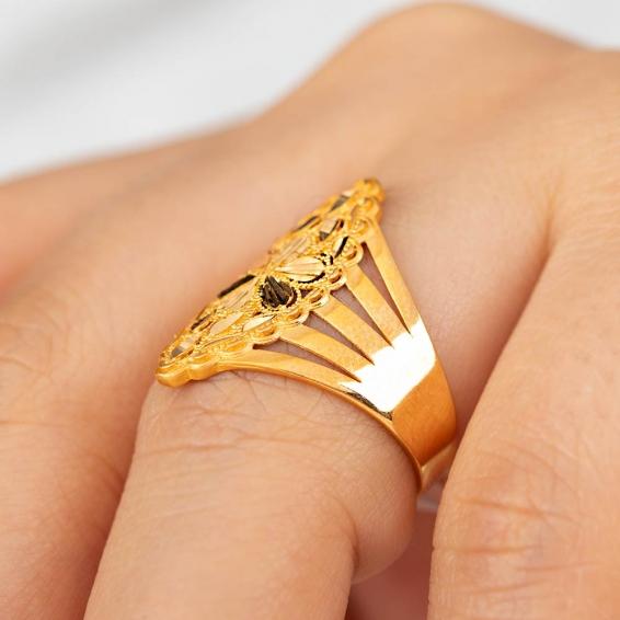 Mücevher Dünyası - 22 Ayar Altın Fantezi Yüzük - 3,61 Gr. - 18