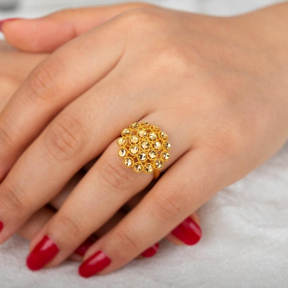 Mücevher Dünyası - 22 Ayar Altın Fantezi Yüzük - 4,68 Gr. - 17