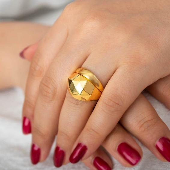 Mücevher Dünyası - 22 Ayar Altın Fantezi Yüzük - 5,49 Gr. - 19