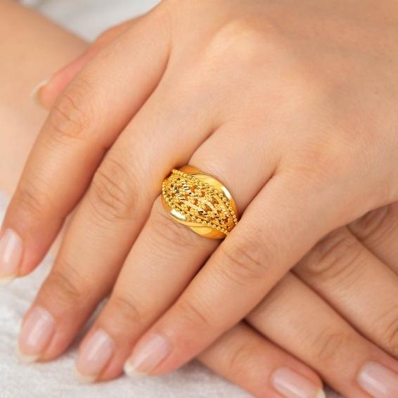 Mücevher Dünyası - 22 Ayar Altın Fantezi Yüzük - 6,59 Gr. - 16