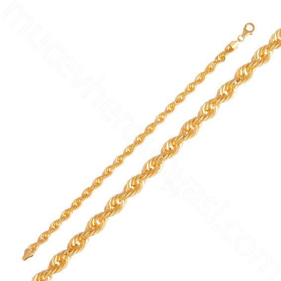 Mücevher Dünyası - 22 Ayar Altın Halat Zincir Bileklik - 6,82 Gr.