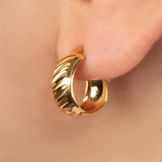 Mücevher Dünyası - 22 Ayar Altın Halka Küpe - 3 Gr.