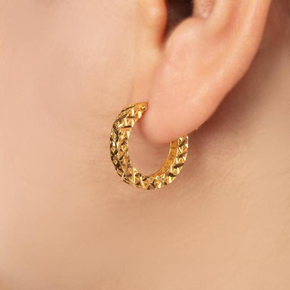 Mücevher Dünyası - 22 Ayar Altın Halka Küpe - 4,13 Gr.