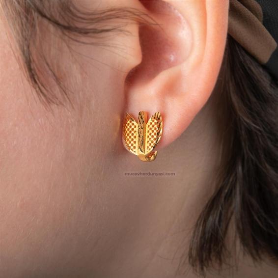 Mücevher Dünyası - 22 Ayar Altın Kalp Desenli Kadın Küpe - 3,79 Gr.