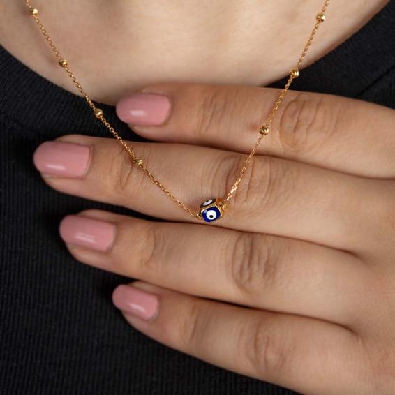 Mücevher Dünyası - 22 Ayar Altın Nazar Boncuklu Dorika Kolye - 3,70 Gr.