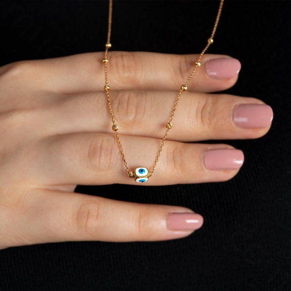 Mücevher Dünyası - 22 Ayar Altın Nazar Boncuklu Dorikalı Kolye - 3,69 Gr.