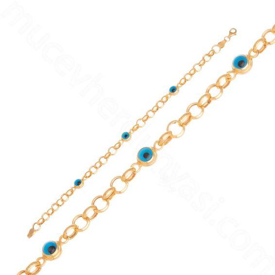 Mücevher Dünyası - 22 Ayar Altın Nazar Boncuklu Bileklik - 5,23 Gr.
