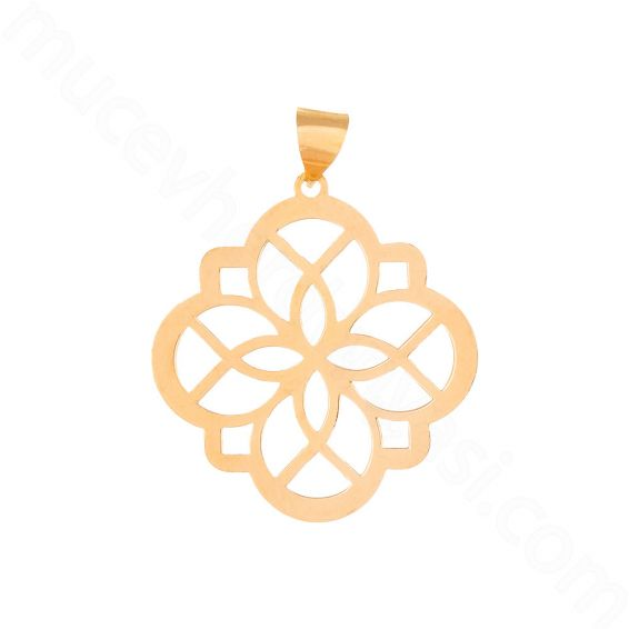 Mücevher Dünyası - 22 Ayar Altın Tasarım Yonca Kolye Ucu - 2,85 Gr.