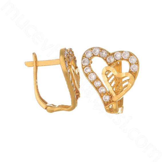Mücevher Dünyası - 22 Ayar Altın Taşlı Kalp Küpe - 3,68 Gr.