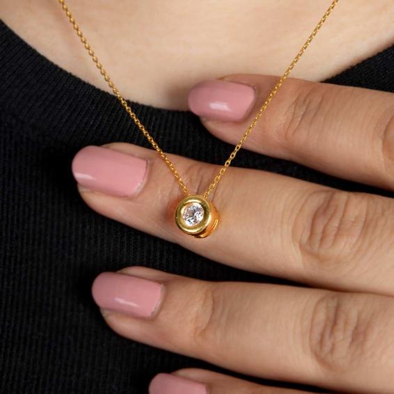 Mücevher Dünyası - 22 Ayar Altın Taşlı Kolye - 3,56 Gr.