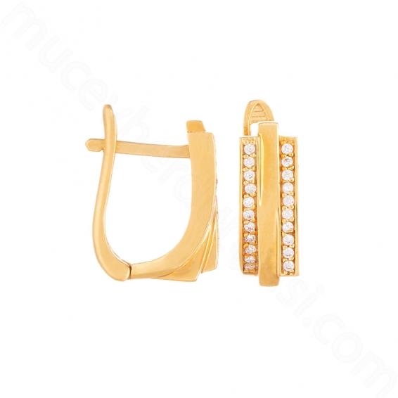 Mücevher Dünyası - 22 Ayar Altın Taşlı Küpe - 5,37 Gr.