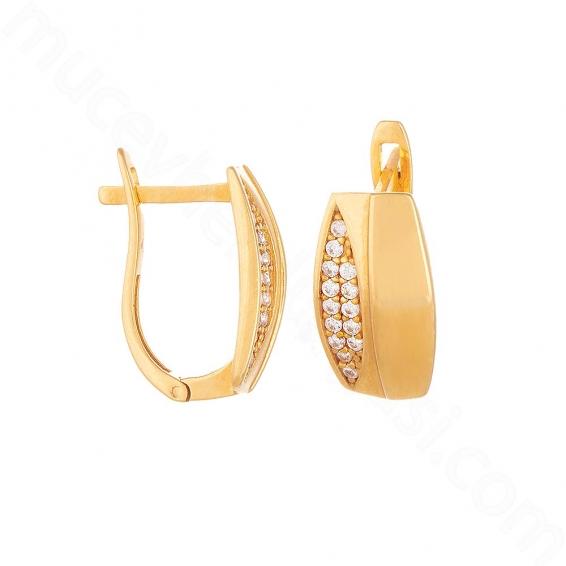 Mücevher Dünyası - 22 Ayar Altın Taşlı Küpe - 3,86 Gr.