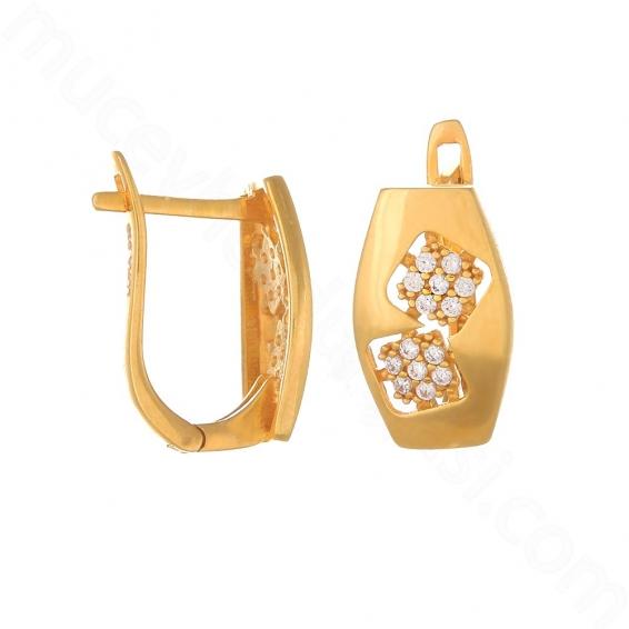 Mücevher Dünyası - 22 Ayar Altın Taşlı Küpe - 4 Gr.