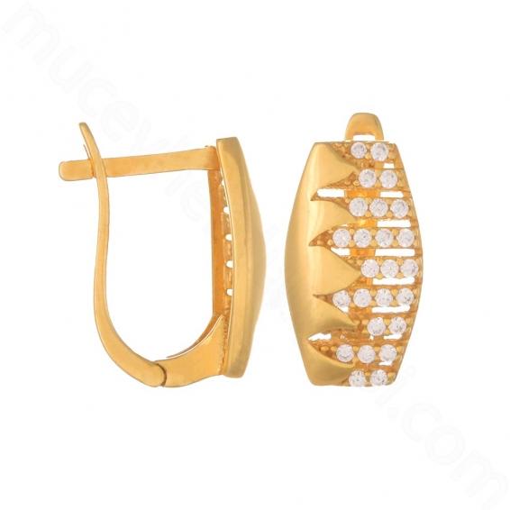 Mücevher Dünyası - 22 Ayar Altın Taşlı Küpe - 4,06 Gr.