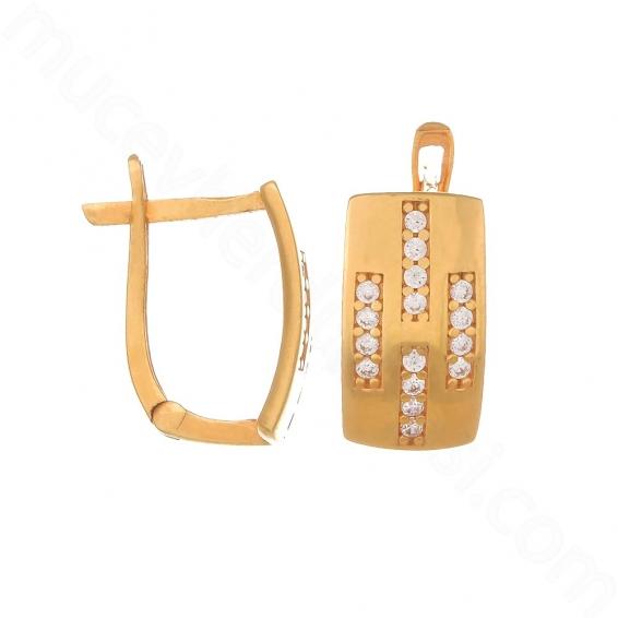 Mücevher Dünyası - 22 Ayar Altın Taşlı Küpe - 4,37 Gr.