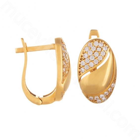 Mücevher Dünyası - 22 Ayar Altın Taşlı Küpe - 4,48 Gr.