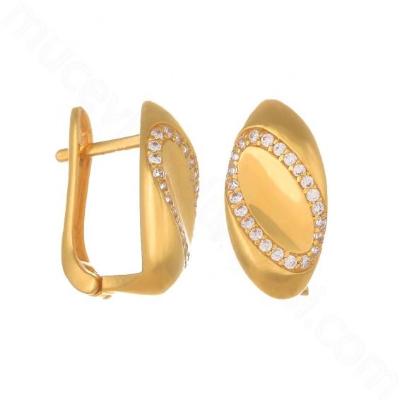 Mücevher Dünyası - 22 Ayar Altın Taşlı Küpe - 4,60 Gr.