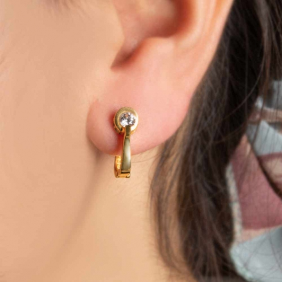 Mücevher Dünyası - 22 Ayar Altın Taşlı Küpe - 4,66 Gr.