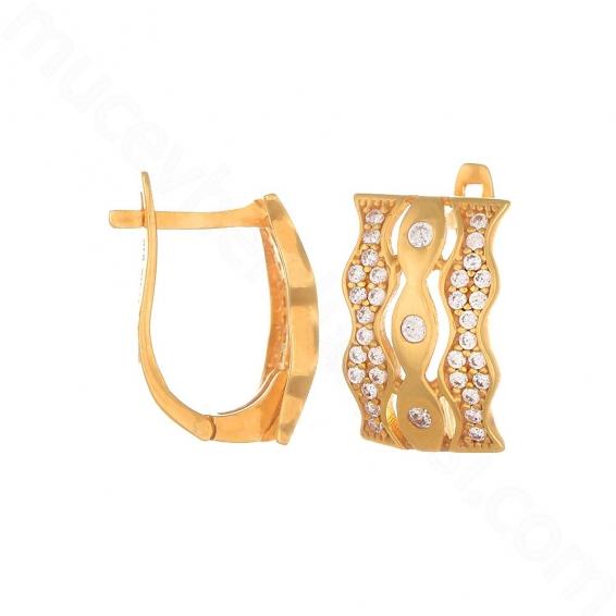Mücevher Dünyası - 22 Ayar Altın Taşlı Küpe - 5,48 Gr.