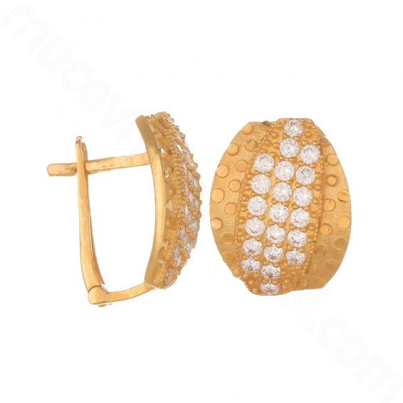 Mücevher Dünyası - 22 Ayar Altın Taşlı Küpe - 6,36 Gr.
