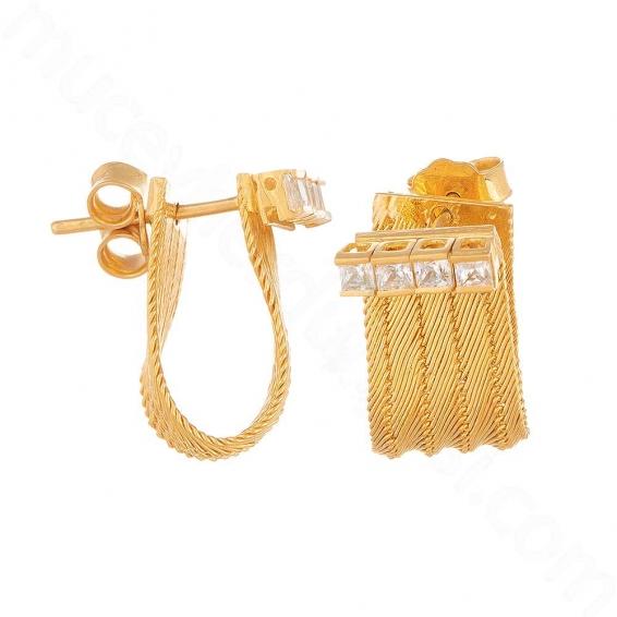 Mücevher Dünyası - 22 Ayar Altın Taşlı Trabzon Hasır Küpe - 9,27 Gr.